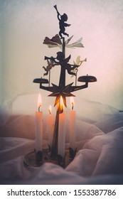 Traditional Swedish Angel Chime with light candles.