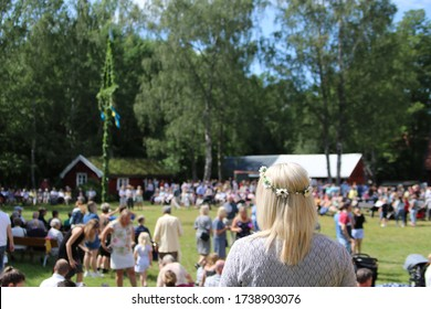 The traditional Swedish midsummer celebration in Sweden called Midsommar