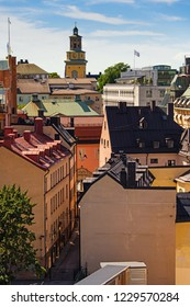 Traditional swedish old buildings in the heart of Stockholm. Old Town Details. Sweden