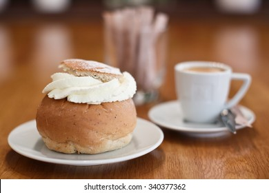 Traditional Swedish pastry called Semla with coffee.