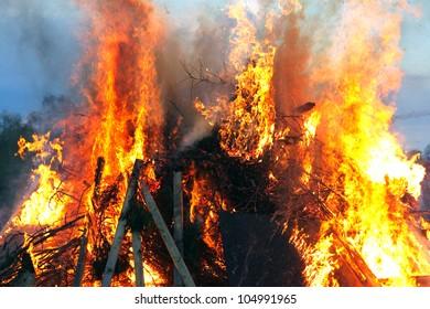 Traditional Swedish Walpurgisnight fire