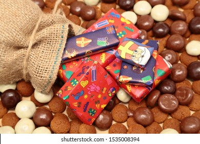 Traditional sweets and pesents for the celebration of Saint Nicolas (Sinterklaas) a dutch holiday