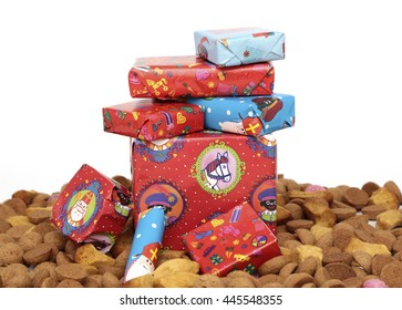 Traditional sweets and presents for the celebration of Sinterklaas, a dutch holiday on december the fifth