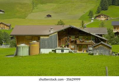 Traditional Swiss Chalet Farm Adelboden, Frutigen, Bern, Switzerland