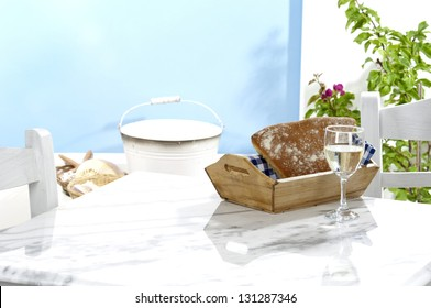 a traditional table at a greek tavern with a rustic decoration(space for product)