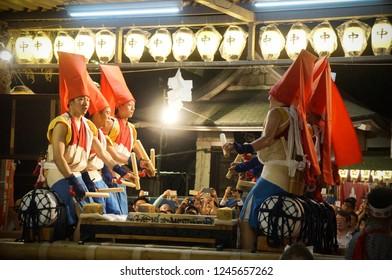 Traditional taiko drummers drumming at Tenmangu Shrine At Tenjin Festival, Osaka Japan, Monday, July 23rd, 2018