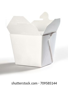 A traditional take out box from an asian restaurant, on a white background.