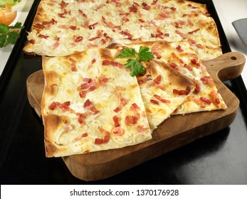 Traditional Tarte Flambee with Creme Fraiche, Onion and Bacon