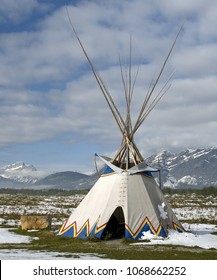 traditional teepee in the Treat y 7 area of Canada west of what is now called the city of Calgary.