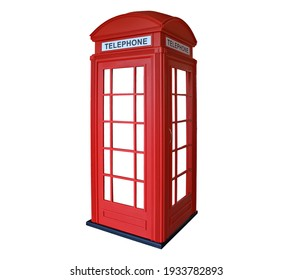 Traditional telephone booth in London, UK. isolated on white background.
