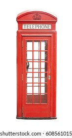 Traditional telephone booth in London, UK. isolated on white background