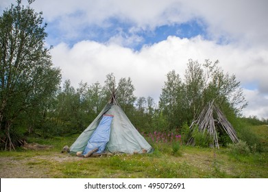 traditional tent and hut  of the sami people