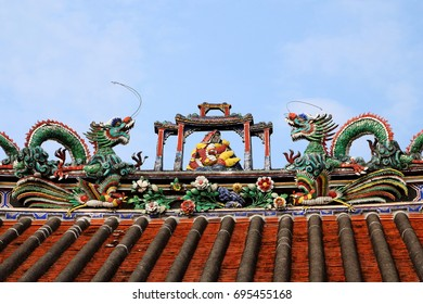 Traditional Teochew (Chaozhou) Architecture in Penang, with dragons and pheonix formed by small pieces of ceramics