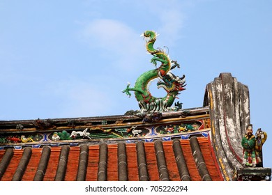 Traditional Teochew (Chaozhou) Architecture in Penang, with dragons and pheonix formed by small pieces of ceramics, which is unique to Teochew architecture for motif decorations