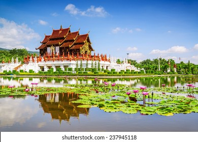 Traditional thai architecture in the Lanna style , Royal Pavilion (Ho Kum Luang), Chiang Mai, Thailand.