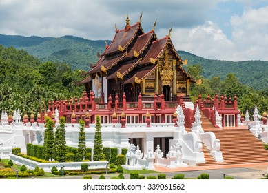 Traditional thai architecture in the Lanna style , Royal Flora Ratchaphruek, Chiang Mai, Thailand