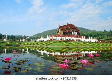 Traditional thai architecture in the Lanna style , Royal Pavilion (Ho Kum Luang) at Royal Flora Expo, Chiang Mai, Thailand