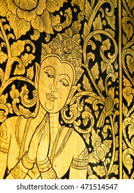 Traditional Thai Art on Temple door