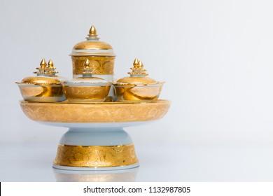 Traditional Thai benjarong ceramic bowls on white background