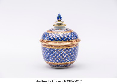 Traditional Thai Benjarong, ceramic, Thailand, Thai art and craft, Thai earthenware, Benjarong on white background