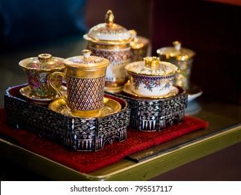 A traditional Thai Benjarong, ceramic, Thailand.