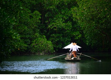 """Traditional Thai boat called """"Ruea Mat"""" or also known as the """"Koh Chang gondola"""" at """"Salak Khok"""" fisherman village"""