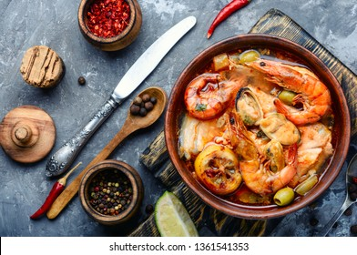 Traditional thai cuisine.Tom yum goong.Spicy shrimp soup.Ingredients for Thai soup