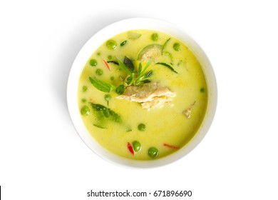 Traditional Thai cuisine,Green curry chicken in coconut milk on white background