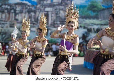 traditional Thai Dance at the Elephant Square in the city centre of Surin at the Elephant Round-up Festival in the city of Surin in Northeastern Thailand in Southeastasia November 20, 2015. .