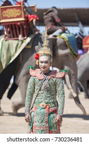 Traditional Thai Dance Girls at the Elephant Round-up Festival in the city of Surin in Northeastern Thailand in Southeastasia, November 20, 2015. .