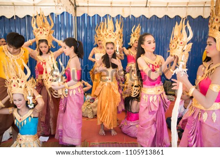 a0b3454e2bcf Traditional Thai Dance Girls at the Elephant Round-up Festival in the city  of Surin