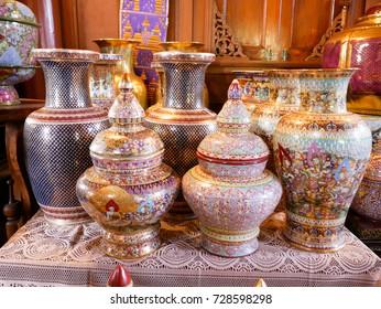 A traditional Thai five-colored famous porcelain. benjarong ceramic ware. Thai benjarong Ban Donkaidee Samutsakhon