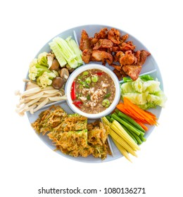 Traditional Thai food named NAM PRIK KAPI.  Vagetable, herbal and healthy meal.  Isolated on white background.