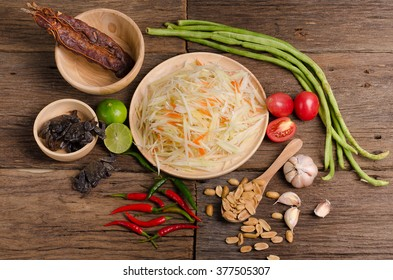 The traditional of thai food, Papaya salad ingredients