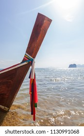 Traditional thai longtail boat on summer day in andaman sea. Sabbatical and vacation concept.