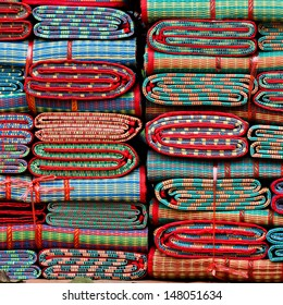 Traditional Thai mat on the field of park for rent.