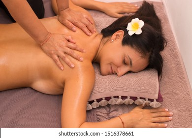 Traditional Thai oriental aromatherapy and Massage beauty treatments. Young healthy asian and european women