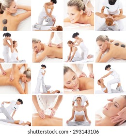 Traditional Thai and Scandinavian massage collection. Medicine, rejuvenation and health care concept.