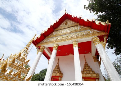 Traditional Thai style art of church in temple Thailand