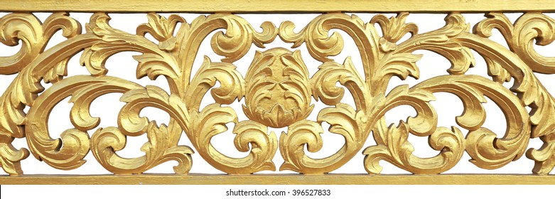 Traditional Thai style art of golden pattern on the wood isolated on white background