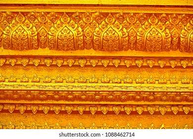 Traditional Thai style golden stucco in Thai temple