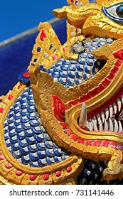 Traditional Thai style Naga stucco in Thai temple
