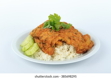 Traditional Thai style, Omelet on Thai Jasmine Rice isolated on white background