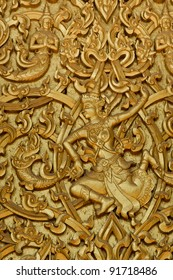 Traditional Thai style on temple door in Thailand