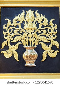Traditional Thai style pattern decorative, stucco gold paint in temple,Thailand.