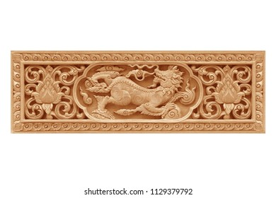 Traditional thai style pattern lion or singha wood carve on white background