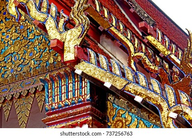 Traditional Thai style roof in temple