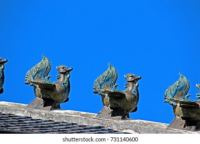 Traditional Thai style swan stucco in Thai temple