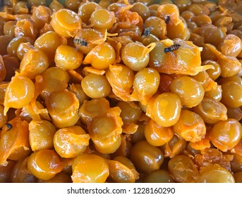 Traditional Thai sweet snack cuisine: Golden Jackfruit Seeds, Mung Bean Marzipan and Egg Yolk Dessert (Met Khanoon). It gives rich, sweet, nutty flavor with silky bean texture and creamy yolk coating