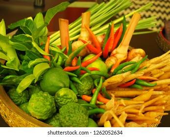 Traditional Thai Tomyam soup fresh ingredients